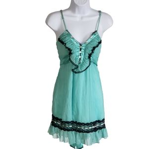 Double Zero DZ Mini Dress Chiffon Lace Adj Strap S